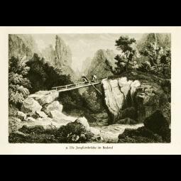 """Stahlstich """"Die Jungfernbrücke im Bodetal"""""""