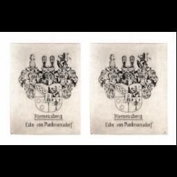 """Kupferstich """"Wappen"""" der edlen von Radmannsdorf aus Riemensberg"""